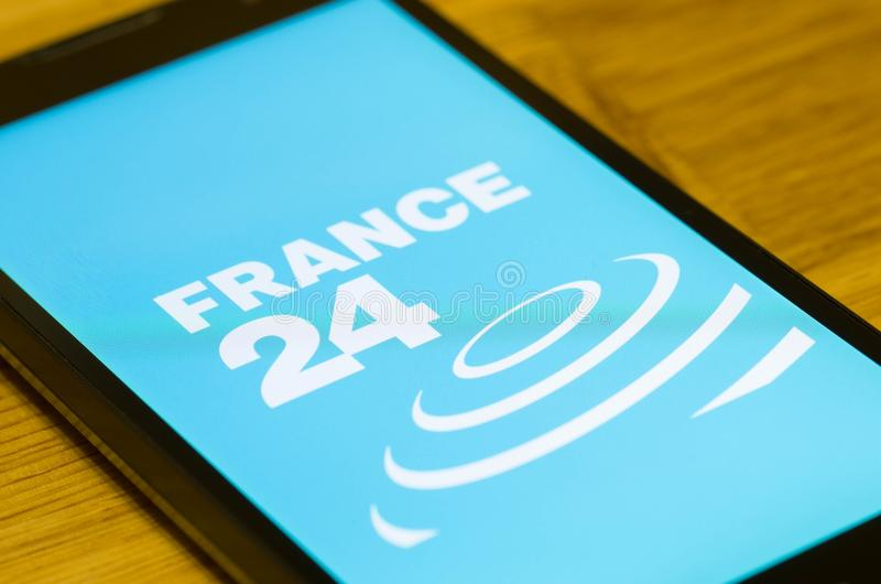 France 24. SARANSK, RUSSIA - JULY 02, 2017: A Smartphone screen shows logo of France 24. Selective focus stock photo