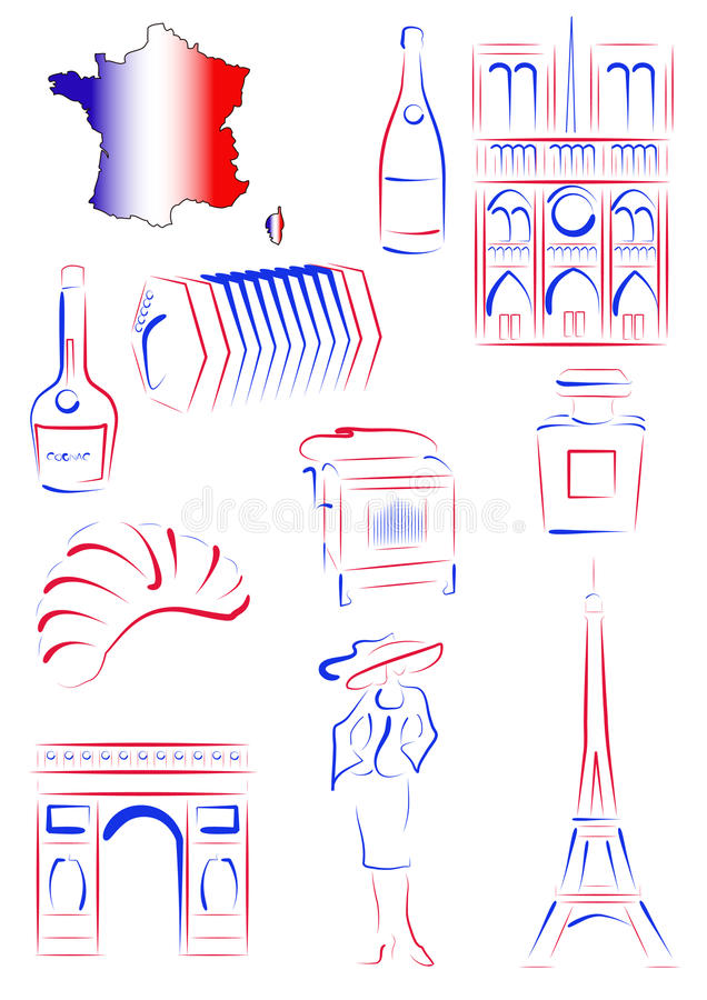 Download France sights and symbols stock vector. Image of notre - 18426806