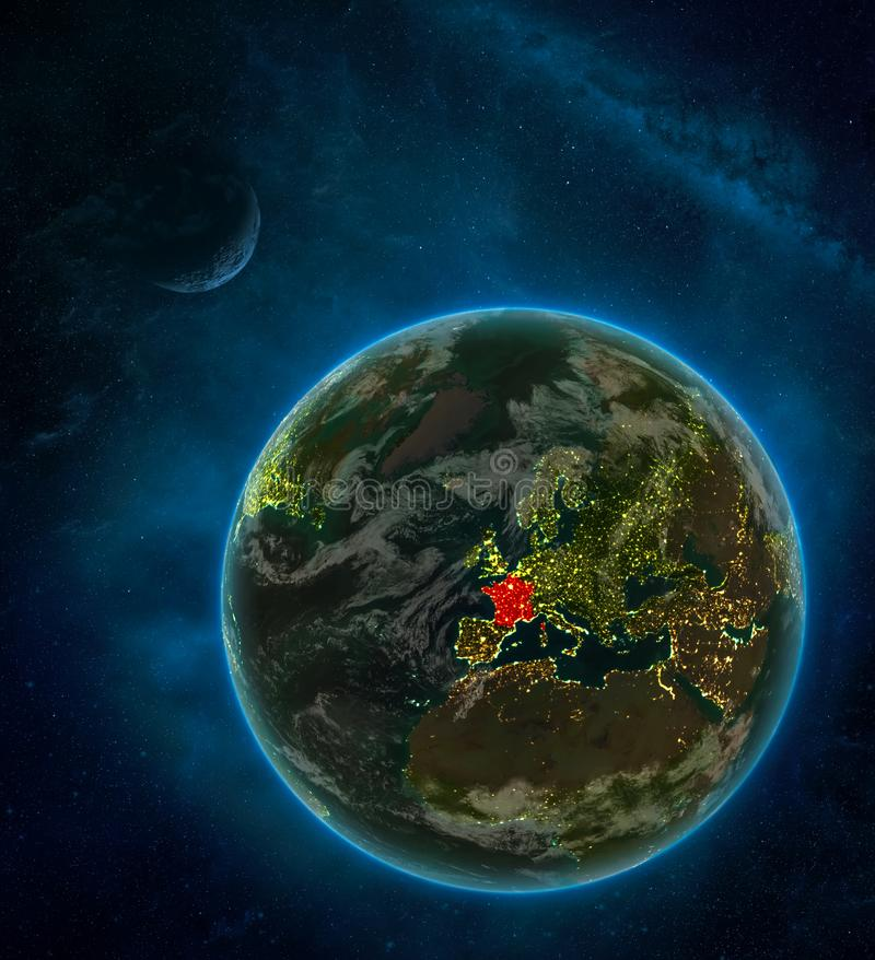 France from space on Earth at night surrounded by space with Moon and Milky Way. Detailed planet with city lights and clouds. 3D. Illustration. Elements of this stock illustration