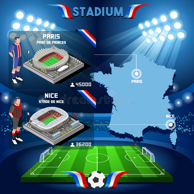 France stadium infographic Paris Parc de Prince. Frances and Stade de Nice royalty free illustration