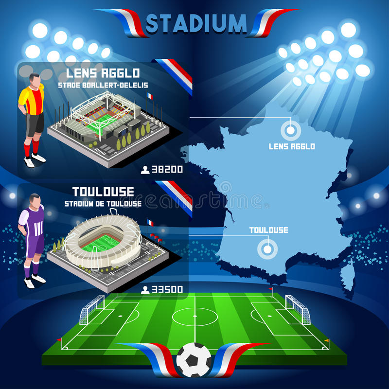 France stadium infographic Stade de Lens Agglo and Toulouse. royalty free illustration