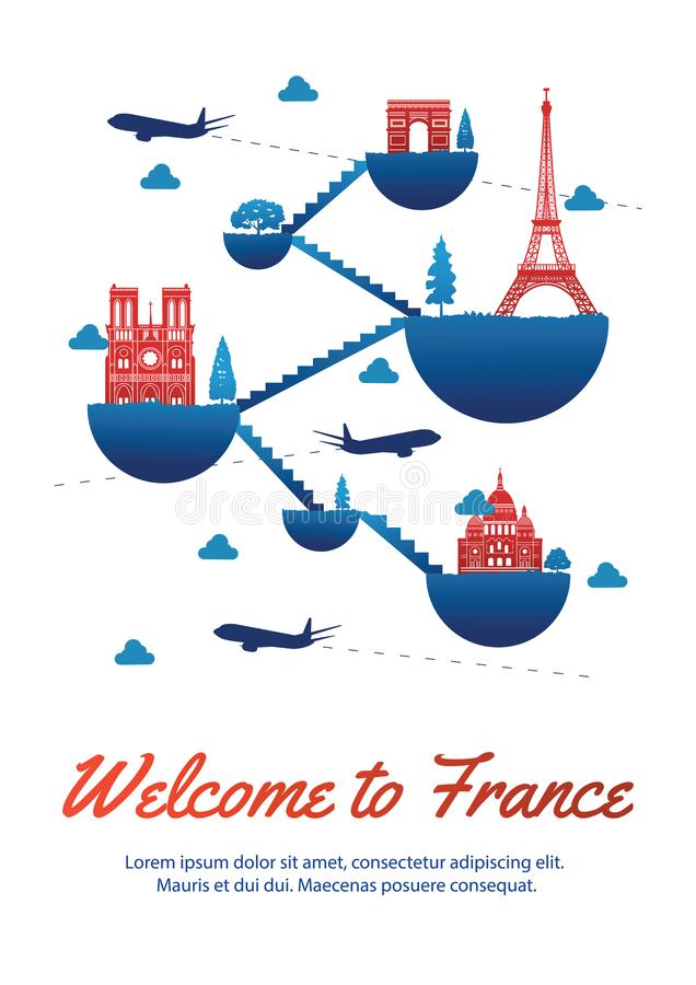 France top famous landmark silhouette style on float island conn. Ect link with stair,national flag color red and blue design,travel and tourism,vector royalty free illustration