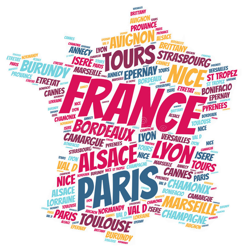 France top travel destinations word cloud. France map silhouette word cloud with most popular travel destinations vector illustration