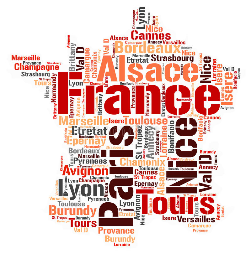France top travel destinations word cloud. France map silhouette word cloud with most popular travel destinations royalty free illustration