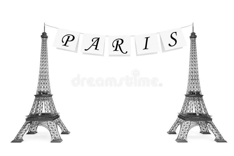 France Tourism Concept. Paris Sign On The Rope With Eiffel Tower Royalty Free Stock Images