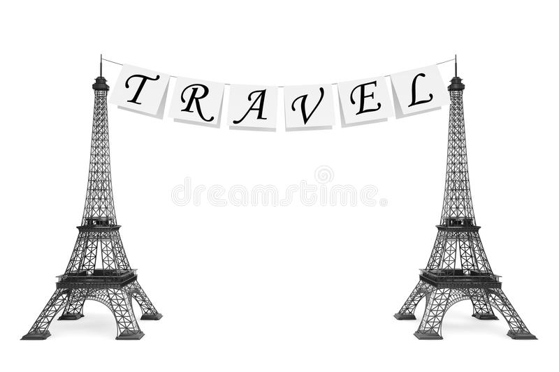 Download France Tourism Concept. Travel Sign On The Rope With Eiffel Towe Stock Illustration - Image: 33635806