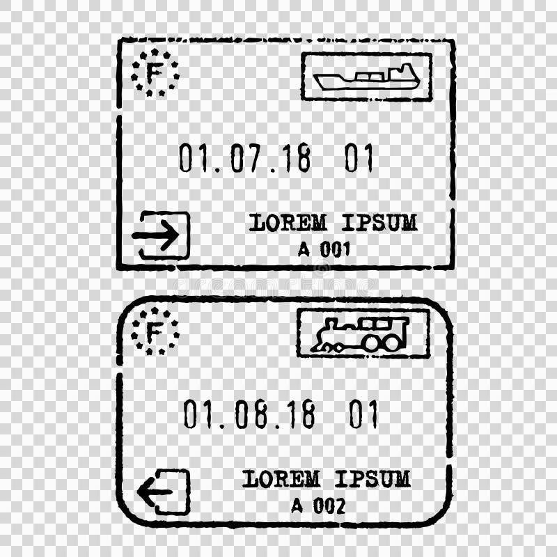 France tourist visa stamp stock illustration