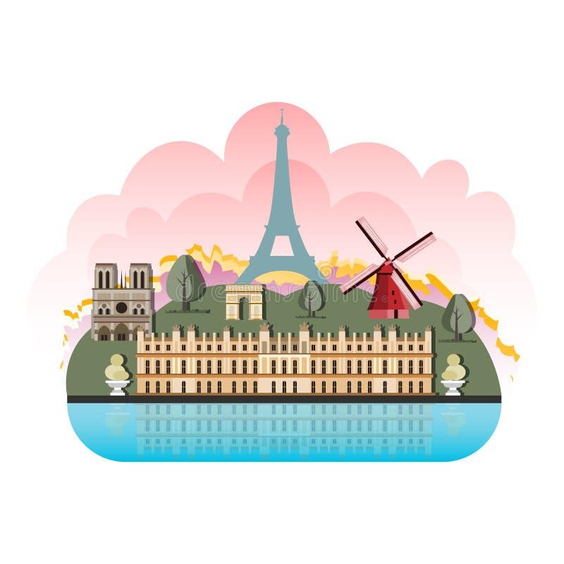 France travel destinations icon set royalty free illustration