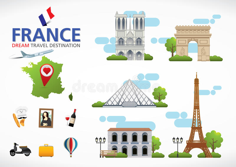 France travel dreams destination, France travel symbols, Symbols of France, landmark. France travel symbols with Eiffel Tower surrounded by famous landmarks as royalty free illustration