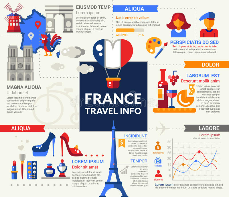 France travel info poster brochure cover template stock for French brochure template