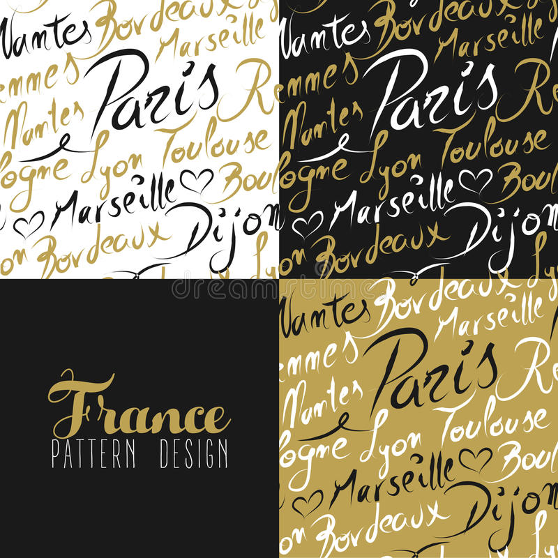 France travel love city seamless pattern gold text vector illustration