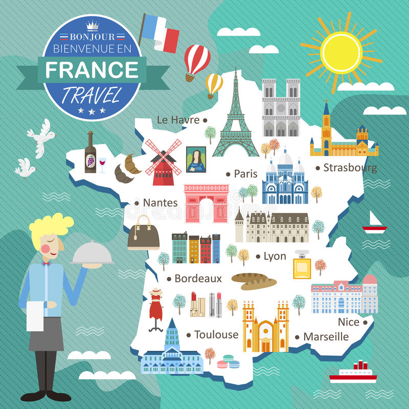download france travel map stock vector illustration of famous 68370916