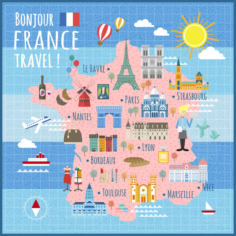 France travel map stock vector Illustration of bread 68370924
