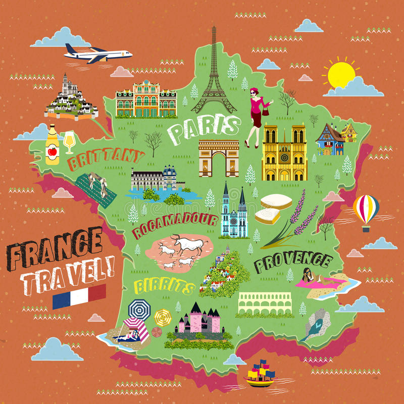 Map Of France Tourist Attractions.France Travel Map Stock Vector Illustration Of Illustration 68370867