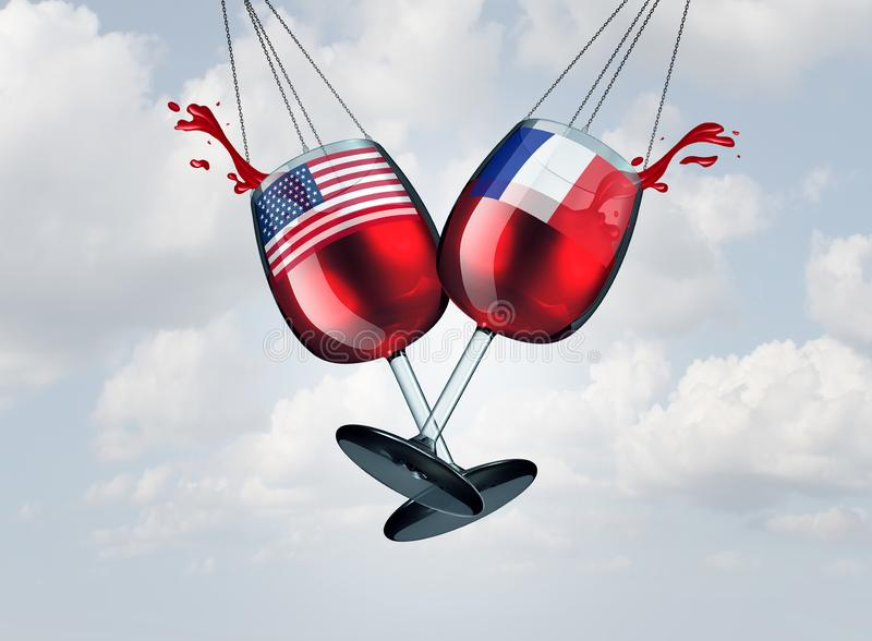 France United States Wine Tariff. France USA wine tariff trade war and American tariffs global trade dispute as two opposing glasses with wines as French tax stock illustration
