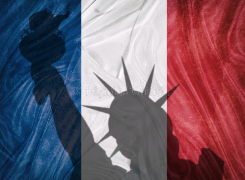 France and usa relation concept. Image shadow stock illustration