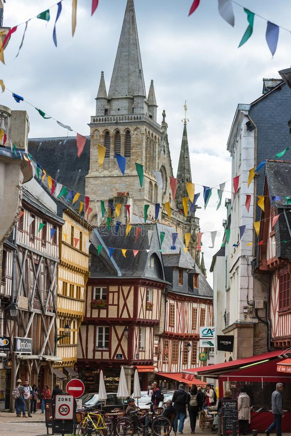 Street with colorful houses in a medieval city of Vannes, France royalty free stock image