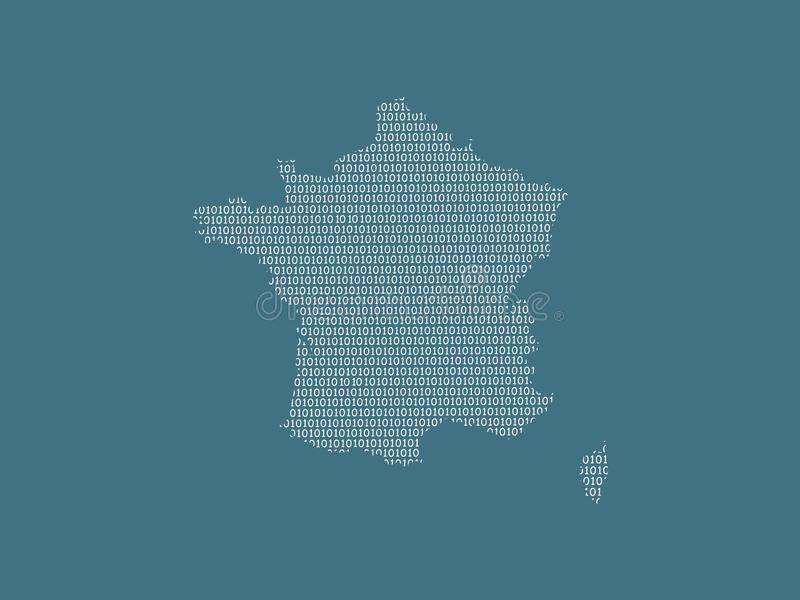 France vector map using white binary digits on dark background to mean digital country and the advancement of technology. Illustration stock illustration
