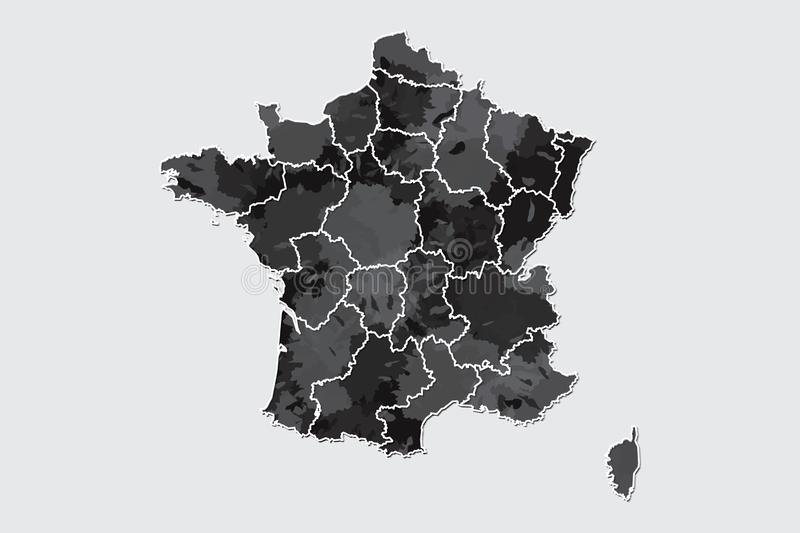 France watercolor map vector illustration of black color with border lines of different regions or provinces on light background. Using paint brush in page royalty free illustration
