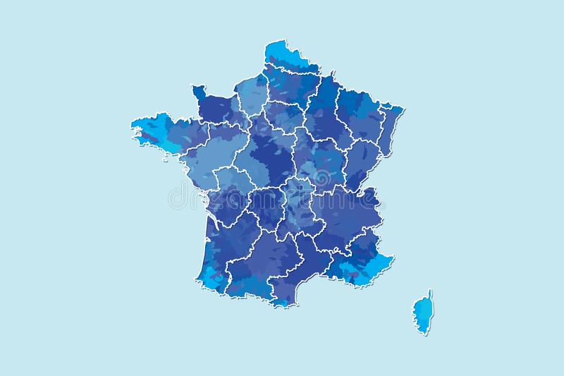 France watercolor map vector illustration of blue color with border lines of different regions or provinces on light background. Using paint brush in page stock illustration