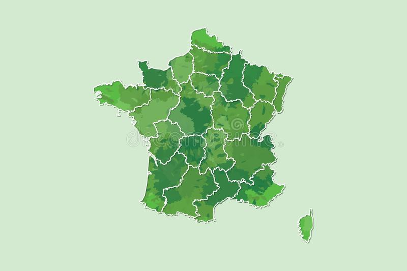 France watercolor map vector illustration of green color with border lines of different regions or provinces on light background. Using paint brush in page royalty free illustration