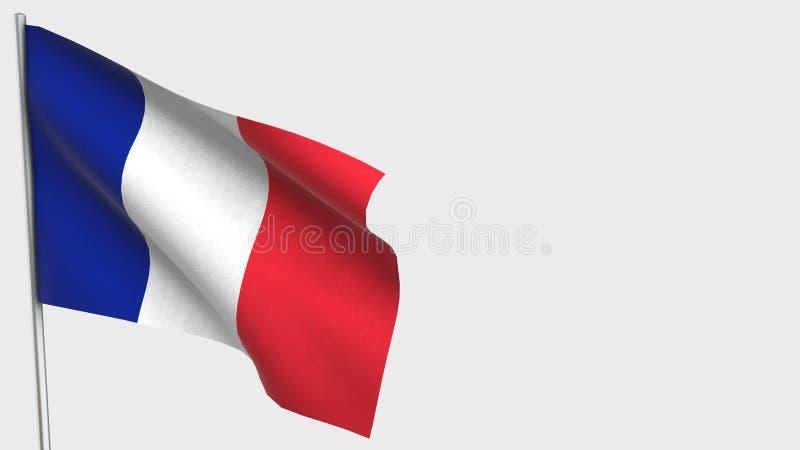 France waving flag illustration on flagpole. vector illustration