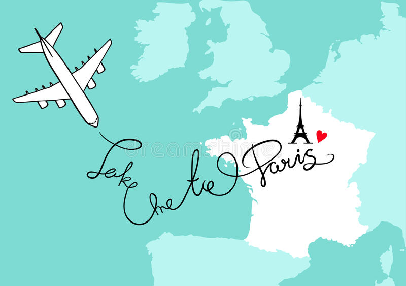France Western Europe And City Paris Map Card With Plane Blue - Paris map outline