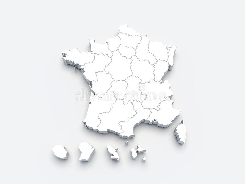 France White Map 3D On Gray Royalty Free Stock Images