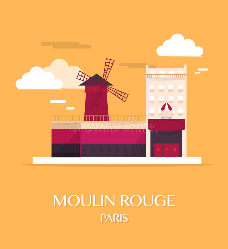 Frances célèbres du Moulin rouge Paris de point de repère illustration libre de droits