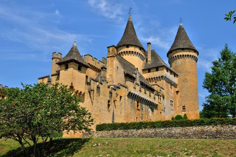 Frances, château pittoresque de Puymartin dans Dordogne photos libres de droits