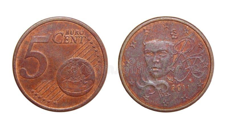 Frances d'euro cents de la pièce de monnaie 5 images libres de droits