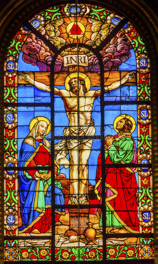 Frances de Paris d'église d'en L'ile de Jesus Stained Glass Saint Louis de crucifixion image libre de droits