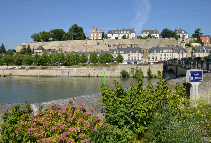 Frances, la ville pittoresque de Pontoise en Val d l'Oise photographie stock