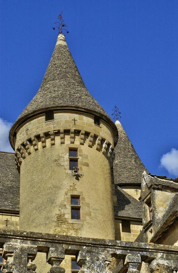 Frances, le château de Moyen Âge de Puymartin image stock