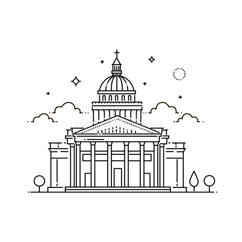 Frances, Paris, Panthéon, illustration de voyage de vecteur, icône plate illustration stock