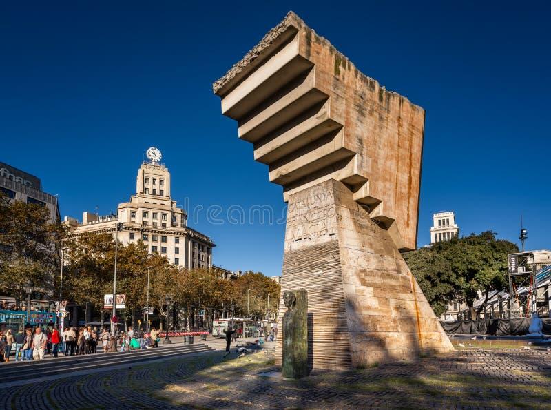 Francesc Macia pomnik na Placa De Catalunya, Barcelona, Hiszpania fotografia royalty free