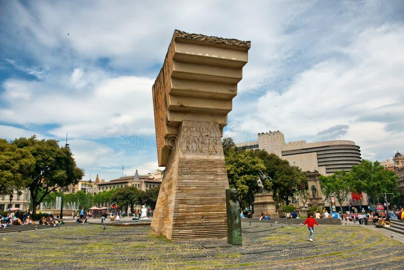 Francesc Macia zabytek w Placa De Catalunya zdjęcie royalty free