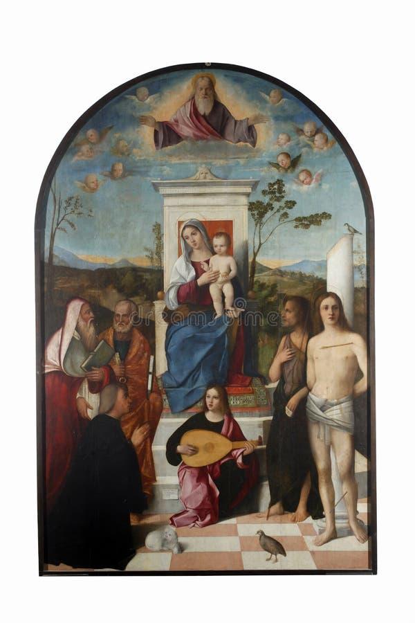 Francesco Bissolo: Madonna mit Kind, Heiligen und Spender lizenzfreie stockbilder