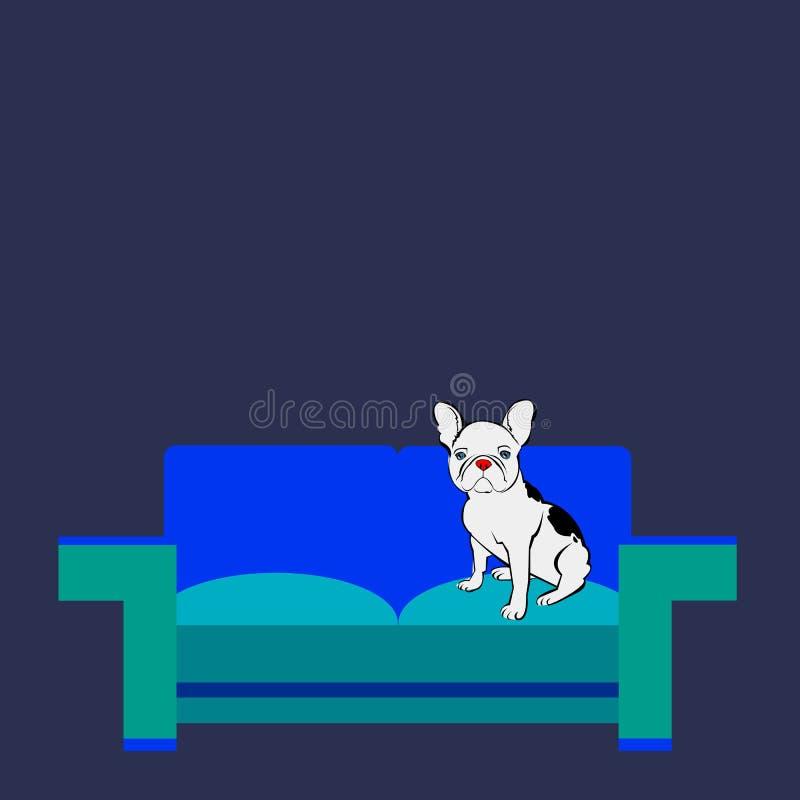 Francese sveglio del bulldog dell'animale domestico della razza di vettore del cane illustrazione di stock