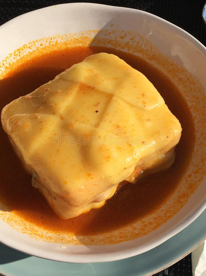 Francesinha dish. Of traditional, Portuguese cuisine royalty free stock photos
