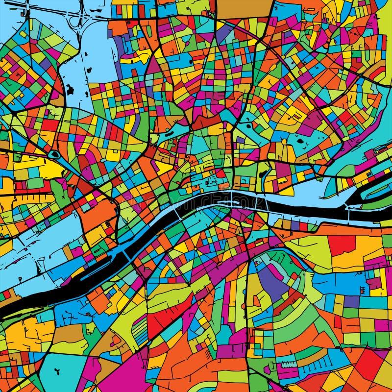 Francfort, Alemania, mapa colorido del vector en negro stock de ilustración