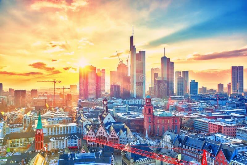 Francfort au coucher du soleil, Allemagne photo libre de droits