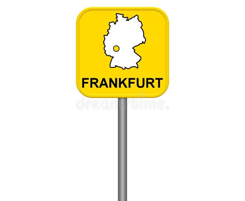 Francfort - muestra amarilla de la ciudad con el mapa alemán libre illustration