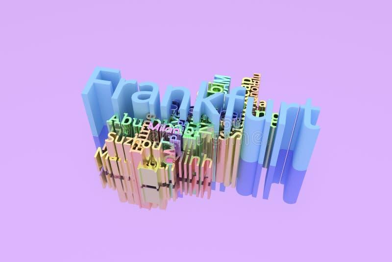 Francfort, palabras de la palabra clave del destino del viaje de la ciudad se nubla Para la p?gina web, el dise?o gr?fico, la tex libre illustration