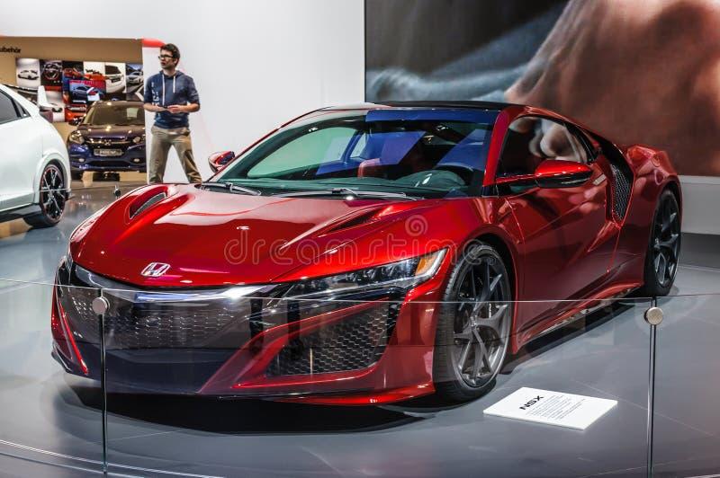 FRANCFORT - SEPT. DE 2015: Concepto de Honda NSX presentado en el interno de IAA fotos de archivo libres de regalías