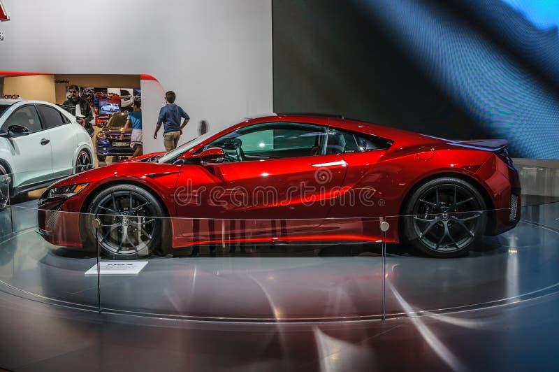 FRANCFORT - SEPT. DE 2015: Concepto de Honda NSX presentado en el interno de IAA imagen de archivo