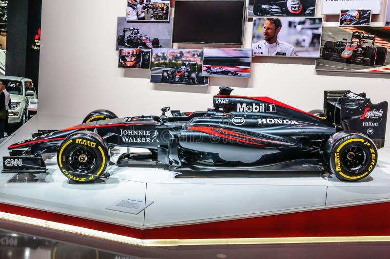 FRANCFORT - SEPT. DE 2015: Fórmula 1 F1 de Honda presentado en IAA internacional imagen de archivo libre de regalías