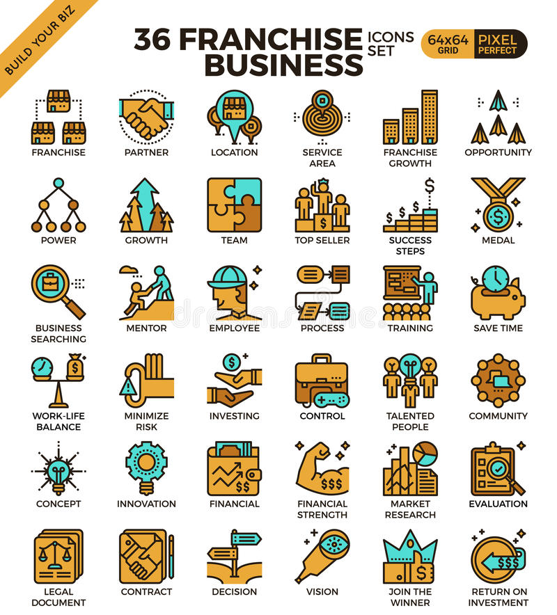 Franchise business icons vector illustration