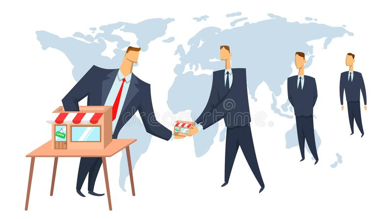 Franchise, concept vector illustration. Franchisor giving business to its franchisees. Scaling of business. vector illustration