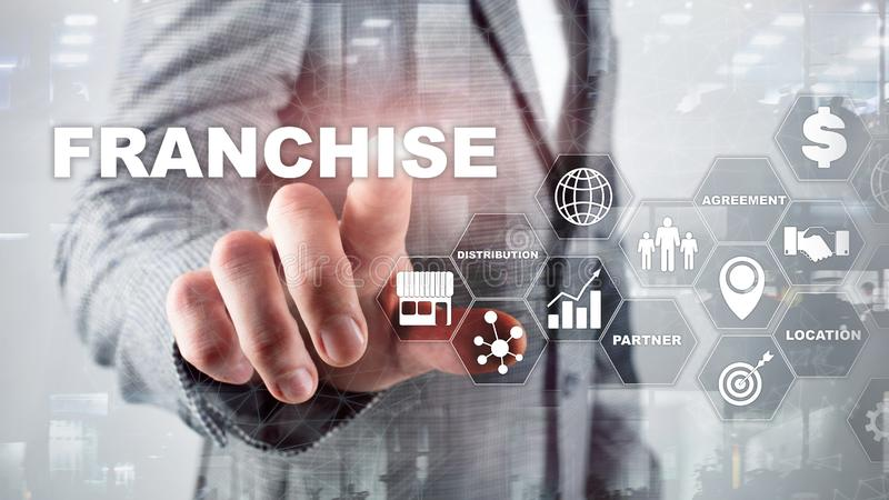 Franchise consept on virtual screen. Marketing Branding Retail and Business Work Mission Concept. royalty free stock image